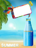 Summer bottle background with speech bubble