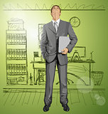 Vector Businessman With Laptop
