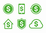 Vector dollar logo. Dollar icon. Vector dollar design elements, badges, labels.