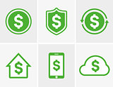 Vector dollar logo. Dollar icon. Dollar cloud icon. Dollar shield icon. Dollar phone icon. Dollar house icon. Vector dollar design elements, badges, labels.