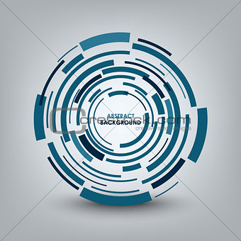 Abstract technical blue round background