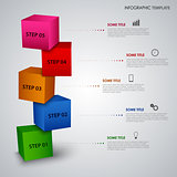 Info graphic with colored design cubes template