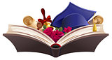Education symbol. Book, diploma, bell, flowers and mortarboard