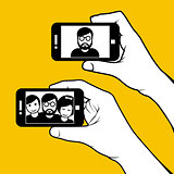 Selfie with friends - hand with smartphone