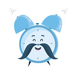 Vector funny cartoon alarm clock character
