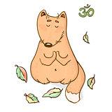 Vector funny animal yoga cartoon design