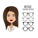 Office glasses styles vector template with an office woman character design