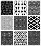 Seamless triangles and hexagons patterns.
