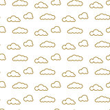 Golden line clouds vector seamless pattern. Dense sky print for textile.