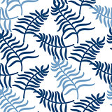 Tropical jungle palm leaves blue color pattern.