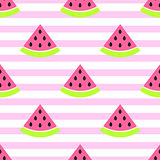 Watermelon slices seamless pink pattern on white.