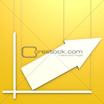 Blank chart hang on yellow background