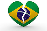 Broken white heart shape with Brazil flag