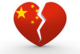 Broken white heart shape with China flag