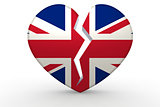 Broken white heart shape with United Kingdom flag