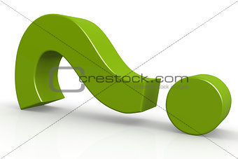 Green question mark on isolate white background