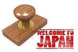 Red rubber stamp with welcome to Japan