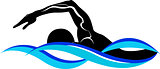 swimmer athlete. Swimmer. The emblem of the swimmer. Vector image of a swimmer.It is drawn in the style of engraving. Swimming Silhouette. swim icon.