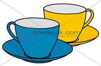 Blue and yellow cups