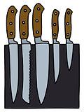 Set of kitchen knives