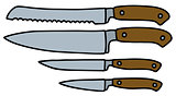 Four kitchen knives