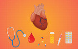 heart healthcare medicine drug drugs illustration with stethoscope syringe