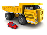 giant dumper and car