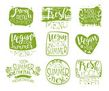 Vegan Menu Vintage Stamp Collection