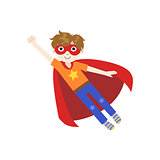 Kid In Superhero Costume Flying