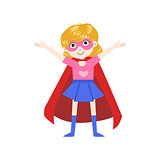 Girl In Superhero Costume With Red Cape