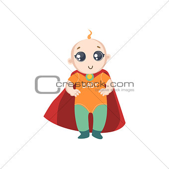Baby Dressed As Superhero With Red Cape