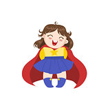 Girl Dressed As Superhero With Red Cape