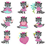 Cute Girl Raccoon Cartoon Set