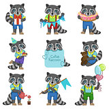 Cute Boy Raccoon Cartoon Set