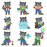 Cute Boy Raccoon Cartoon Set