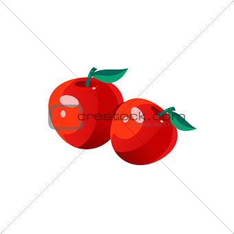Apples Bright Color Simple Illustration