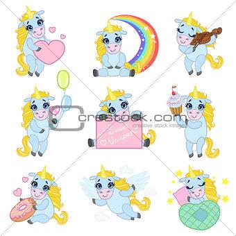 Cute Unicorn Cartoon Set