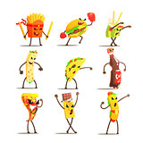 Fast Food Cartoon Characters Set