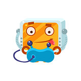 Playing Video Games Little Robot Character