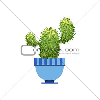 Cactus With Two Branches In A Pot