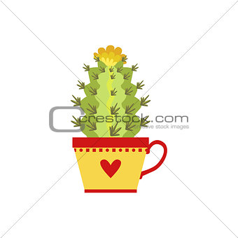 Blooming Tall Cactus In A Cup