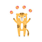 Tiger Juggling With Four Balls