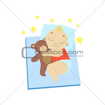Baby In Red Sleeping With Teddy Bear
