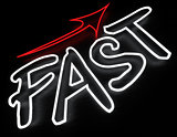 Fast neon sign isolated on black background