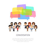Conversation with Colorful Speech Bubbles