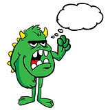 angry monster with thought bubble