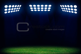 Three spotlights on soccer field