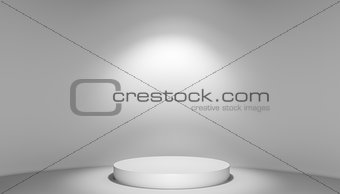 3D illustration of stage with podium and light