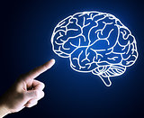 Human hand pointing with finger at brain icon