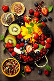 fresh fruits and berries on plate